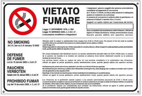 Cartello vietato fumare in 5 lingue